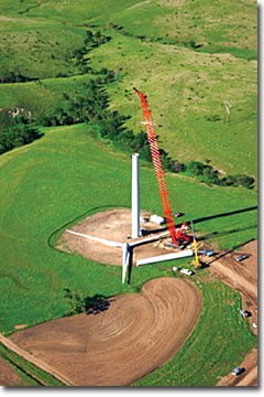Wind mill under construction at Smoky Hills Wind Farm